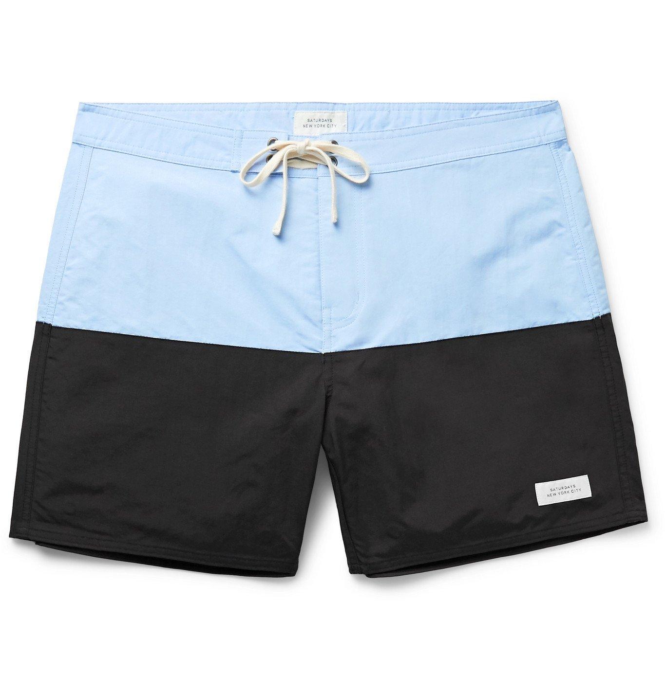 Photo: Saturdays NYC - Ennis Mid-Length Colour-Block Swim Shorts - Multi