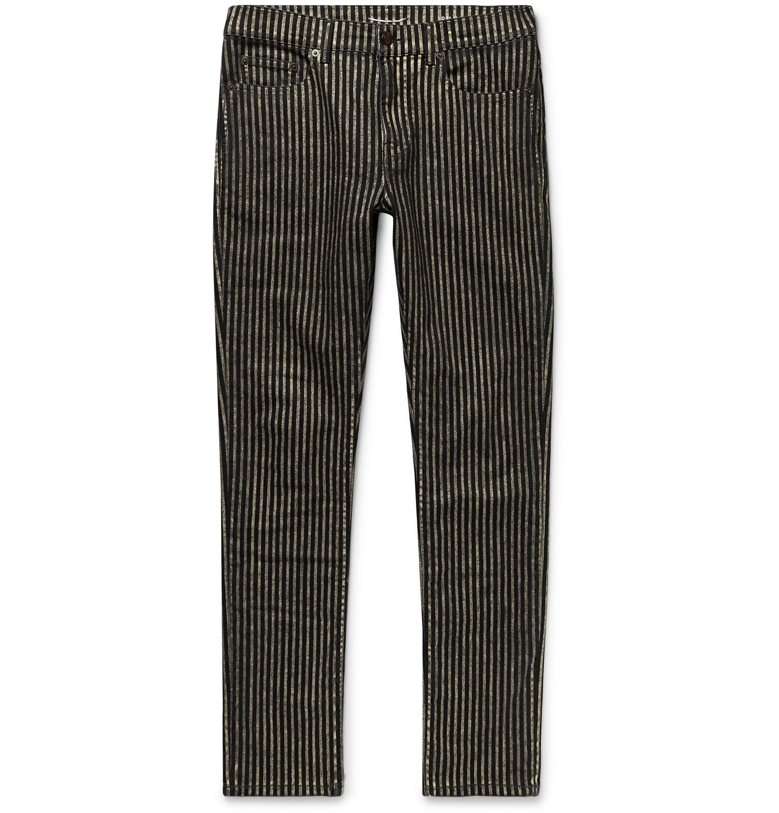 Photo: SAINT LAURENT - Nightrider Skinny-Fit Striped Stretch-Denim Jeans - Black