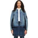 Sacai Blue and Navy Denim Nylon Back Jacket
