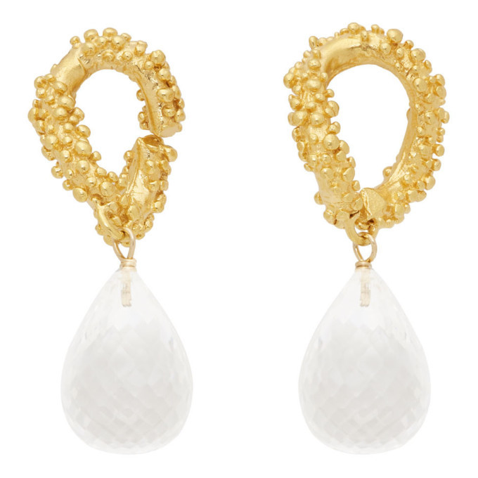 Alighieri Gold and Transparent The Initial Spark Earrings