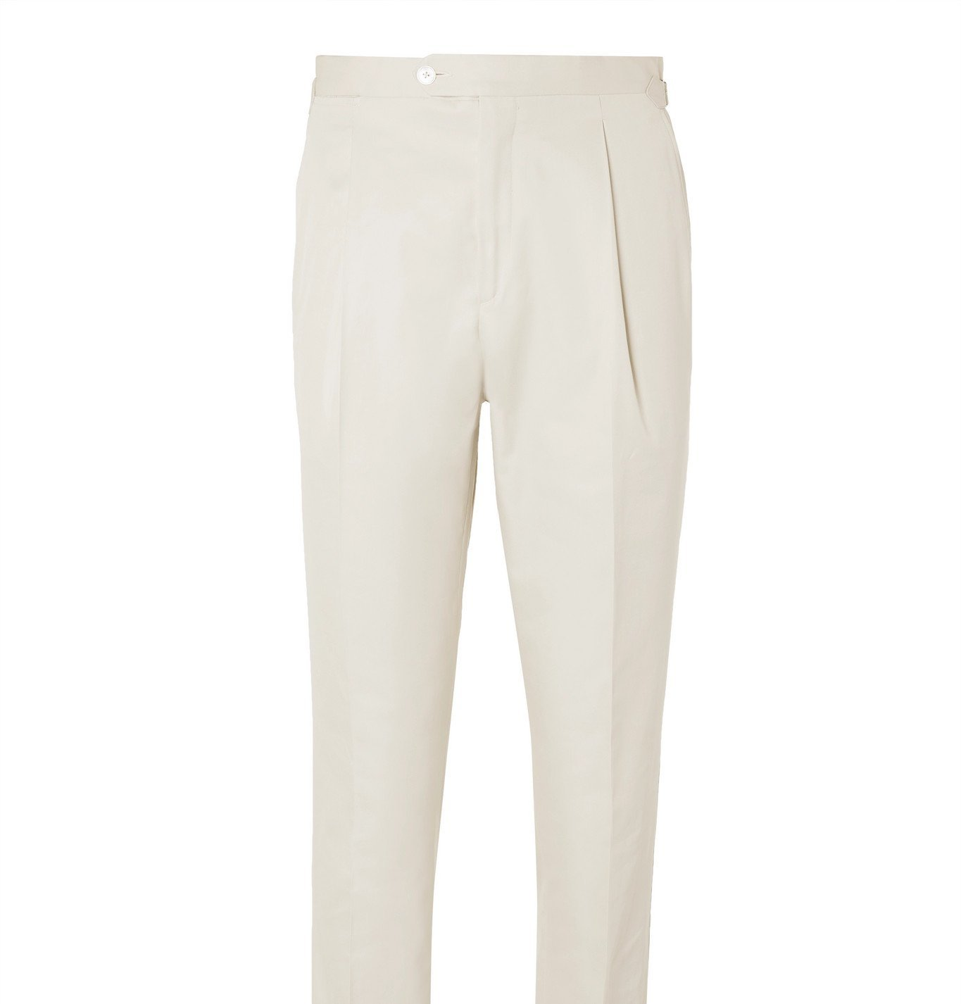 Photo: Saman Amel - Pleated Cotton Suit Trousers - Neutrals