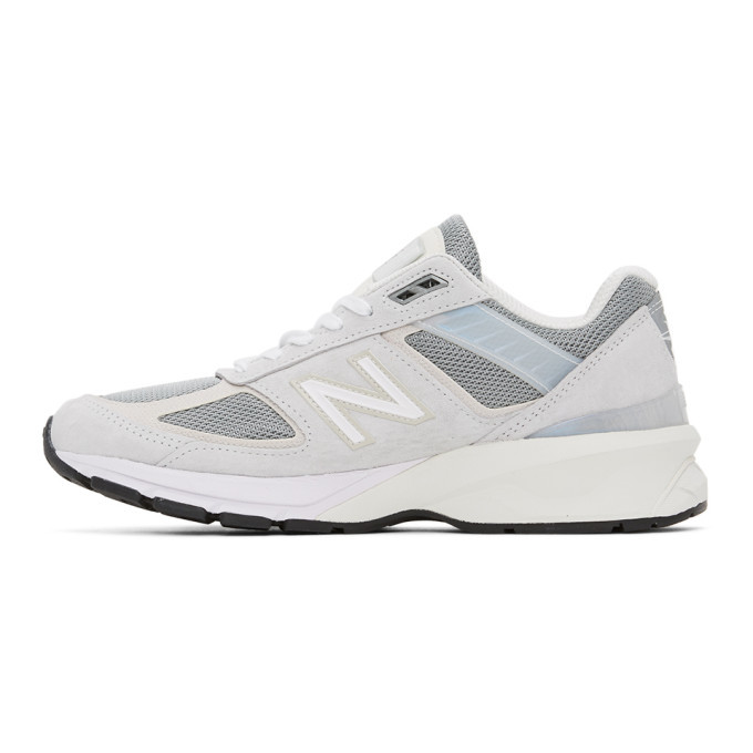 New Balance Grey and Off-White Made In US 990 V5 Sneakers