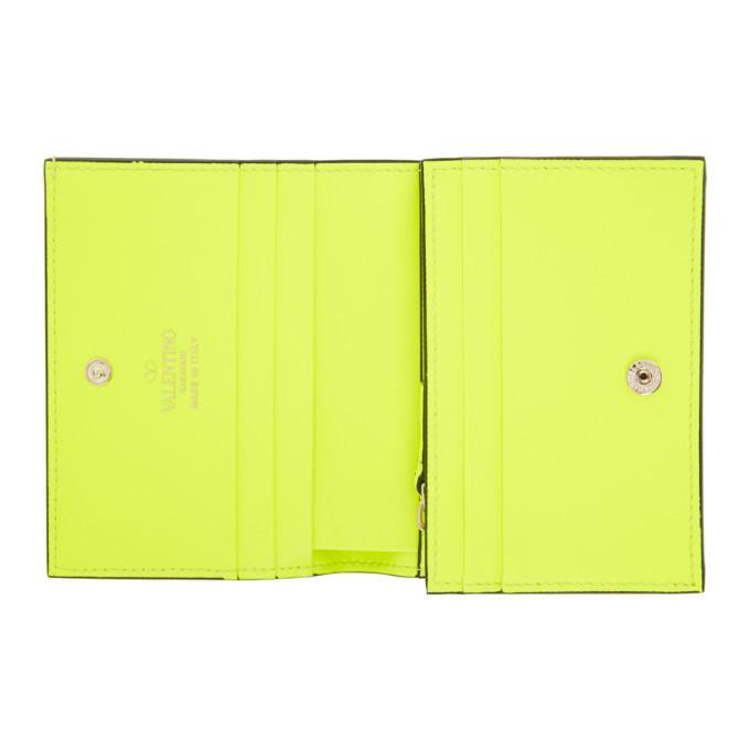 Valentino Yellow VLogo Flap French Wallet