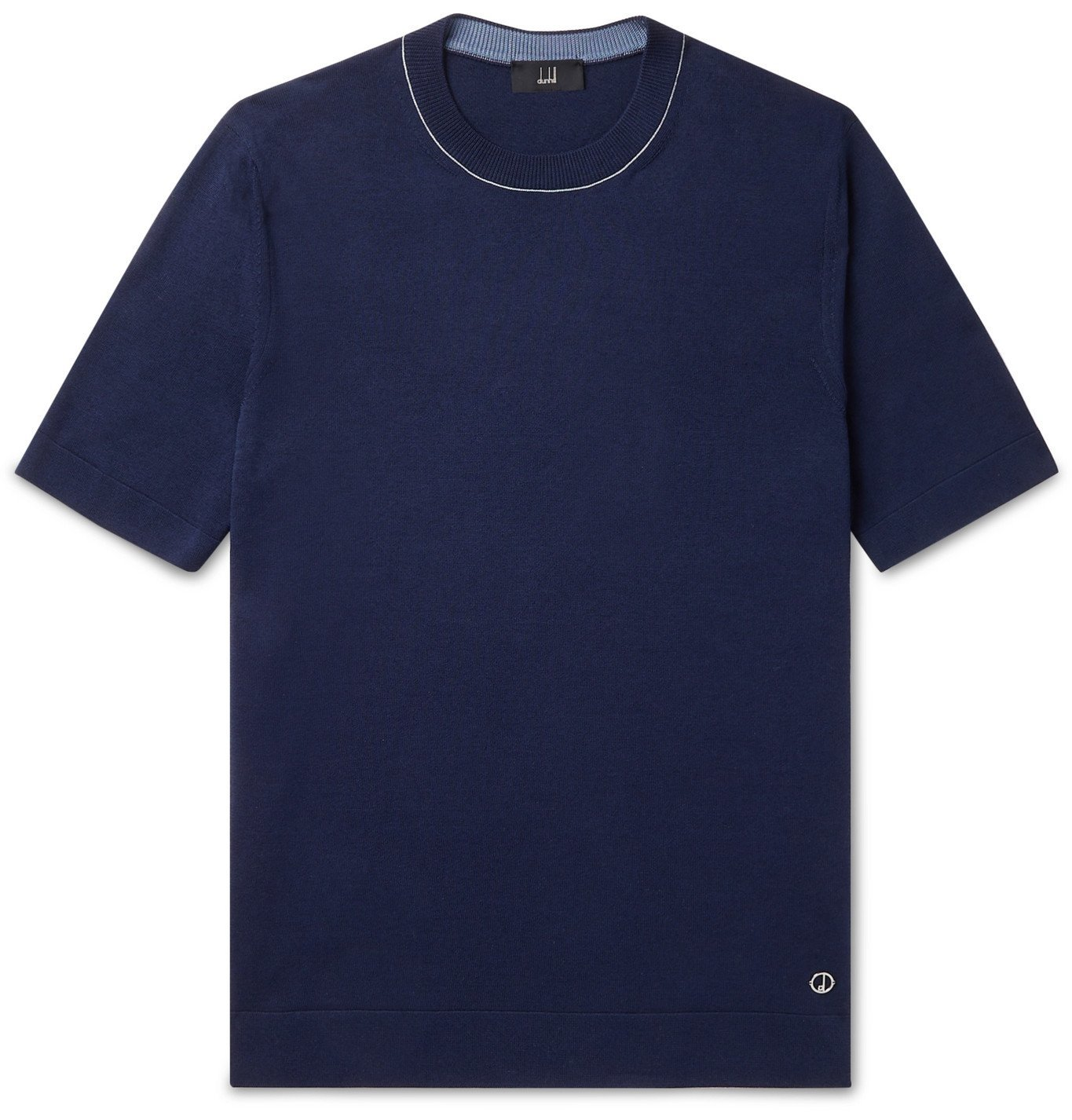 DUNHILL - Contrast-Tipped Silk and Cotton-Blend T-Shirt - Blue