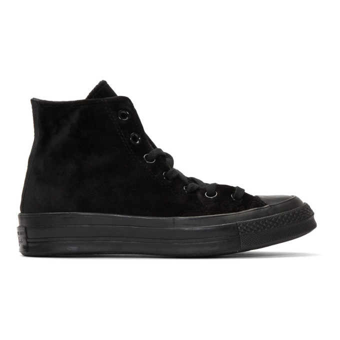 Photo: Converse Black Velvet Chuck 70 Hi Sneakers