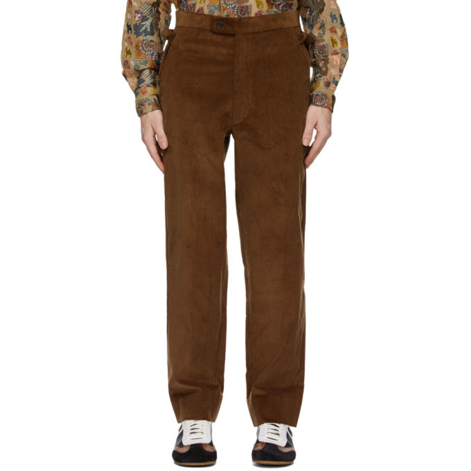 Photo: Bode Brown Corduroy Side-Tie Trousers