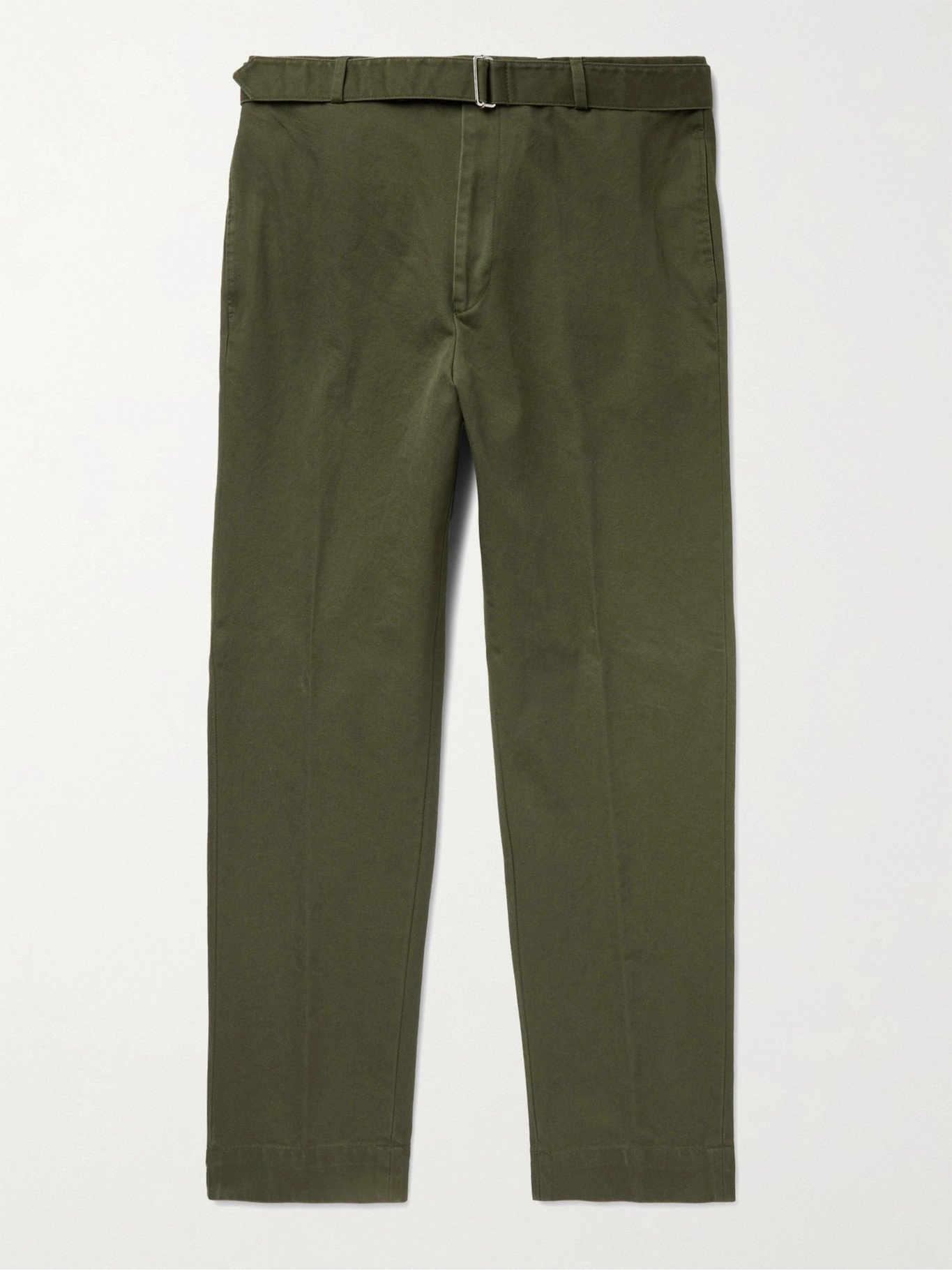 Photo: OFFICINE GÉNÉRALE - Owen Tapered Belted Cotton-Twill Chinos - Green