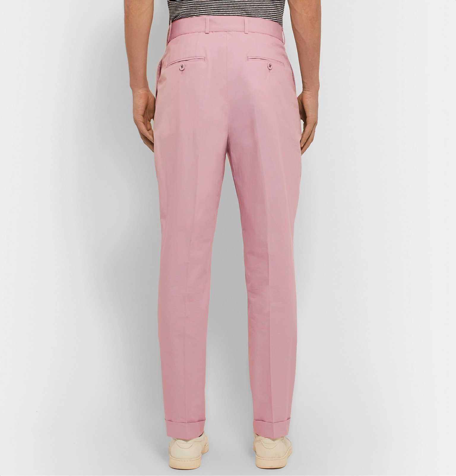 Officine Generale - Pierre Slim-Fit Belted Pleated Cotton-Poplin Suit Trousers - Pink