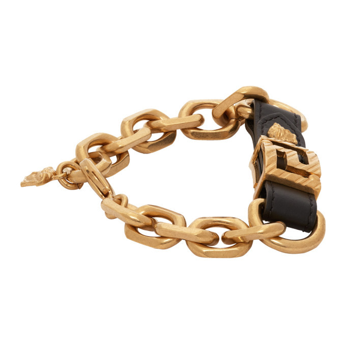 Versace Gold Leather Strap Bracelet