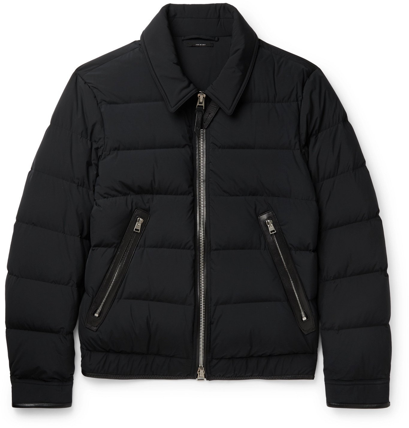 Photo: TOM FORD - Slim-Fit Leather-Trimmed Quilted Shell Down Jacket - Black