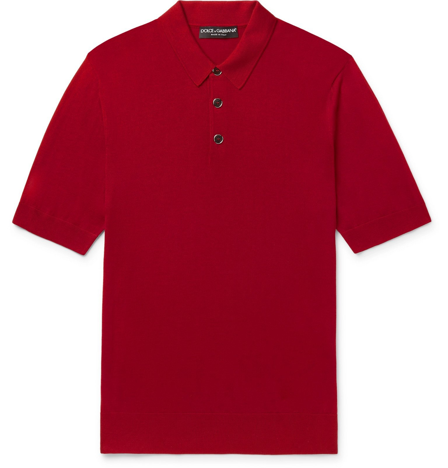Photo: Dolce & Gabbana - Virgin Wool Polo Shirt - Red