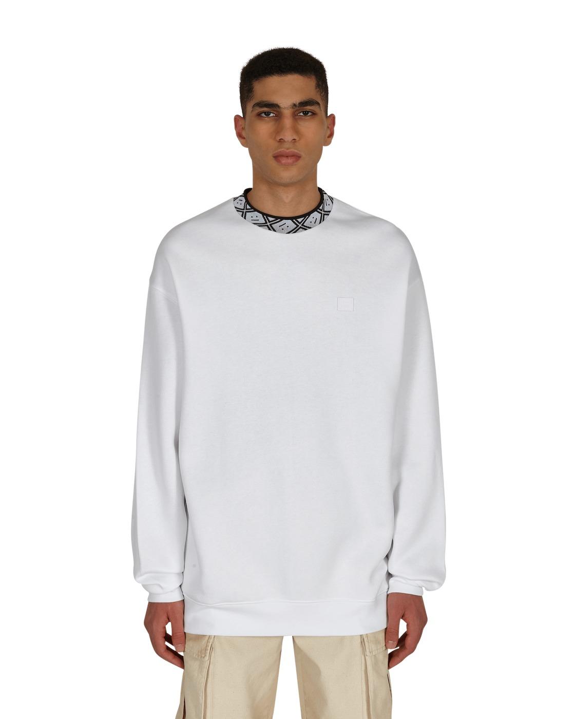 Photo: Acne Studios Future Rib Face Crewneck Sweatshirt Optic White