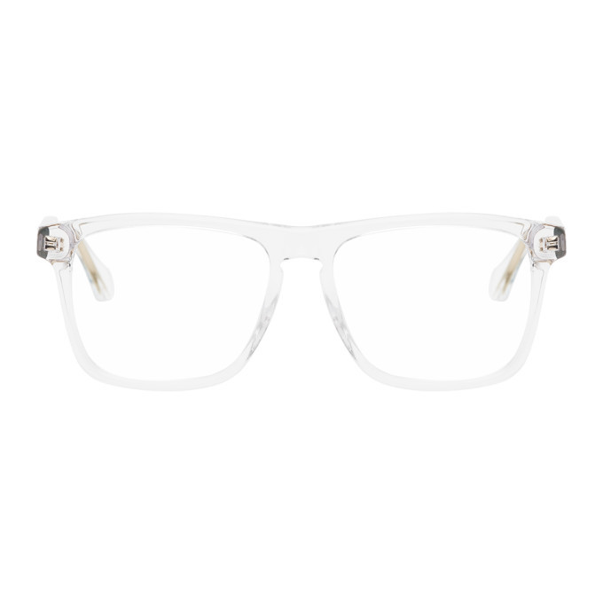 Photo: Gucci Gold and Transparent Square Glasses
