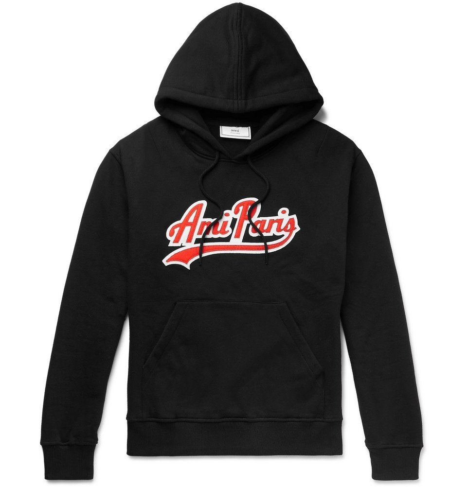 Photo: AMI - Logo-Appliquéd Fleece-Back Cotton-Jersey Hoodie - Men - Black