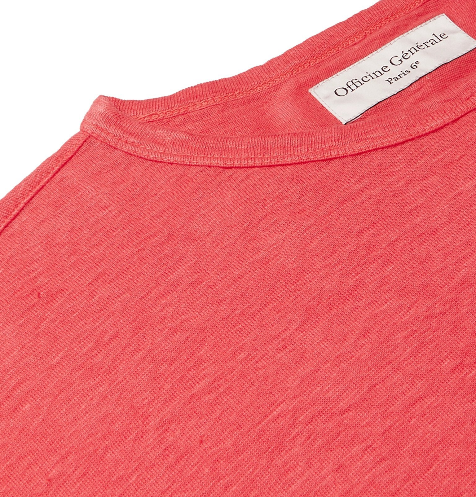 Officine Generale - Pigment-Dyed Linen T-Shirt - Red