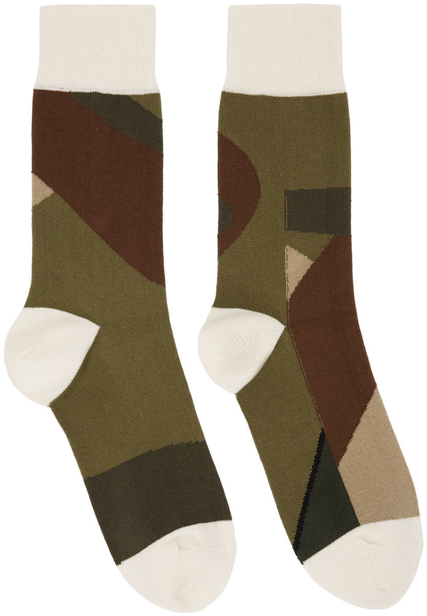 Sacai Green KAWS Edition Camo Socks