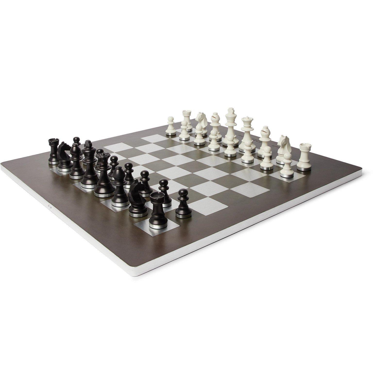 Photo: Berluti - Venezia Leather, Metal and Wood Chess Set - Black