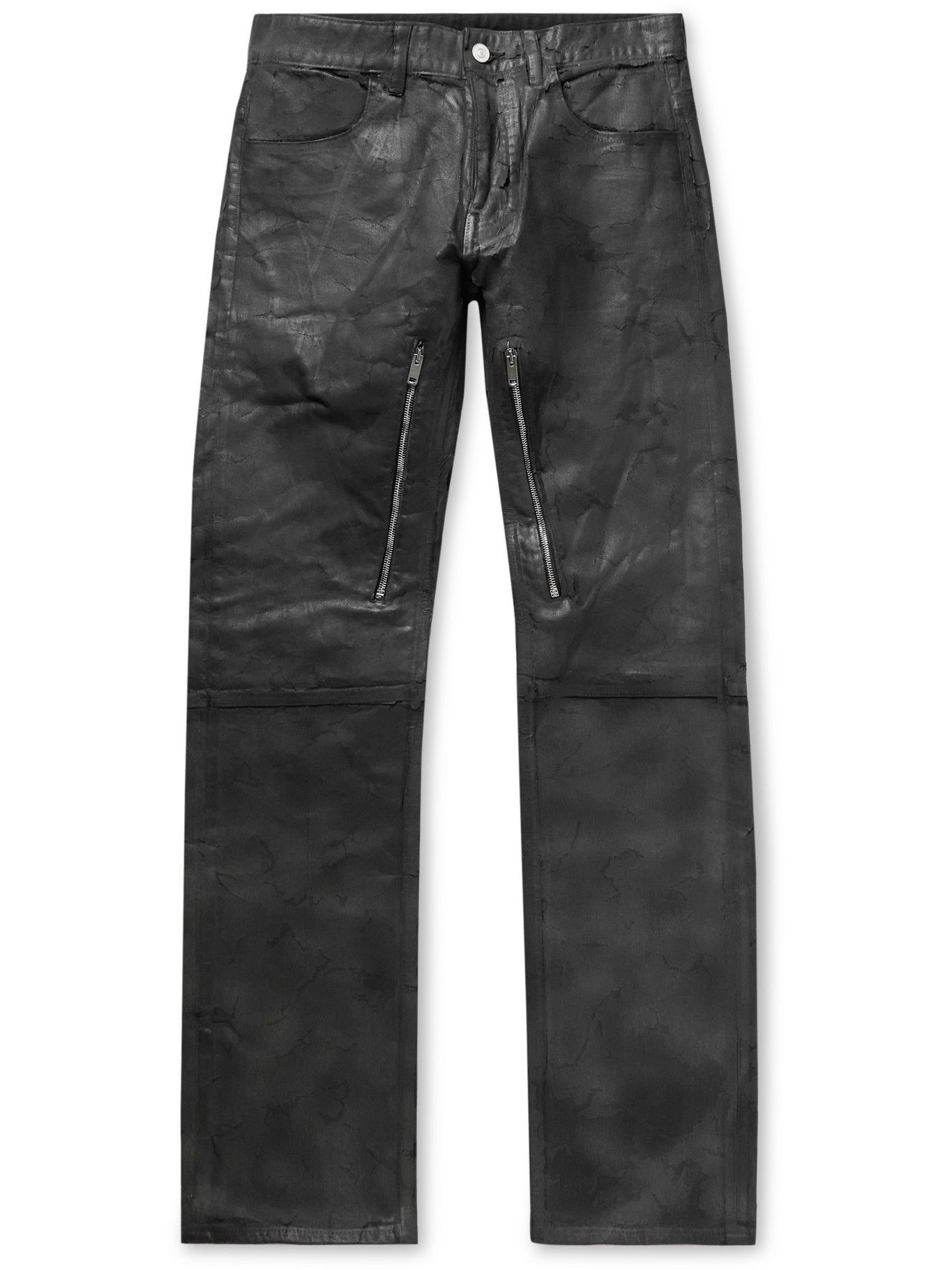 Photo: Givenchy - Zip-Detailed Painted Crackled Denim Jeans - Black
