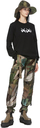 Sacai Black KAWS Edition Flocked Logo Long Sleeve T-Shirt