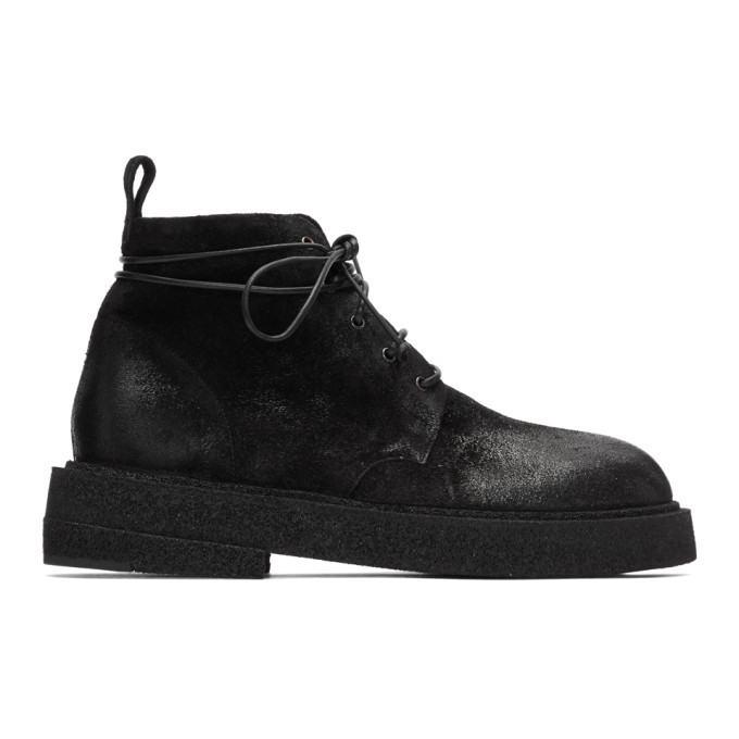 Photo: Marsell Black Suede Crepe Sole Boots