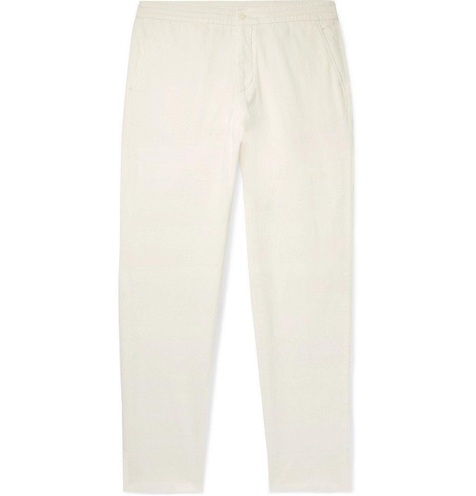 Photo: Ermenegildo Zegna - Stretch Cotton and Silk-Blend Twill Drawstring Trousers - Off-white