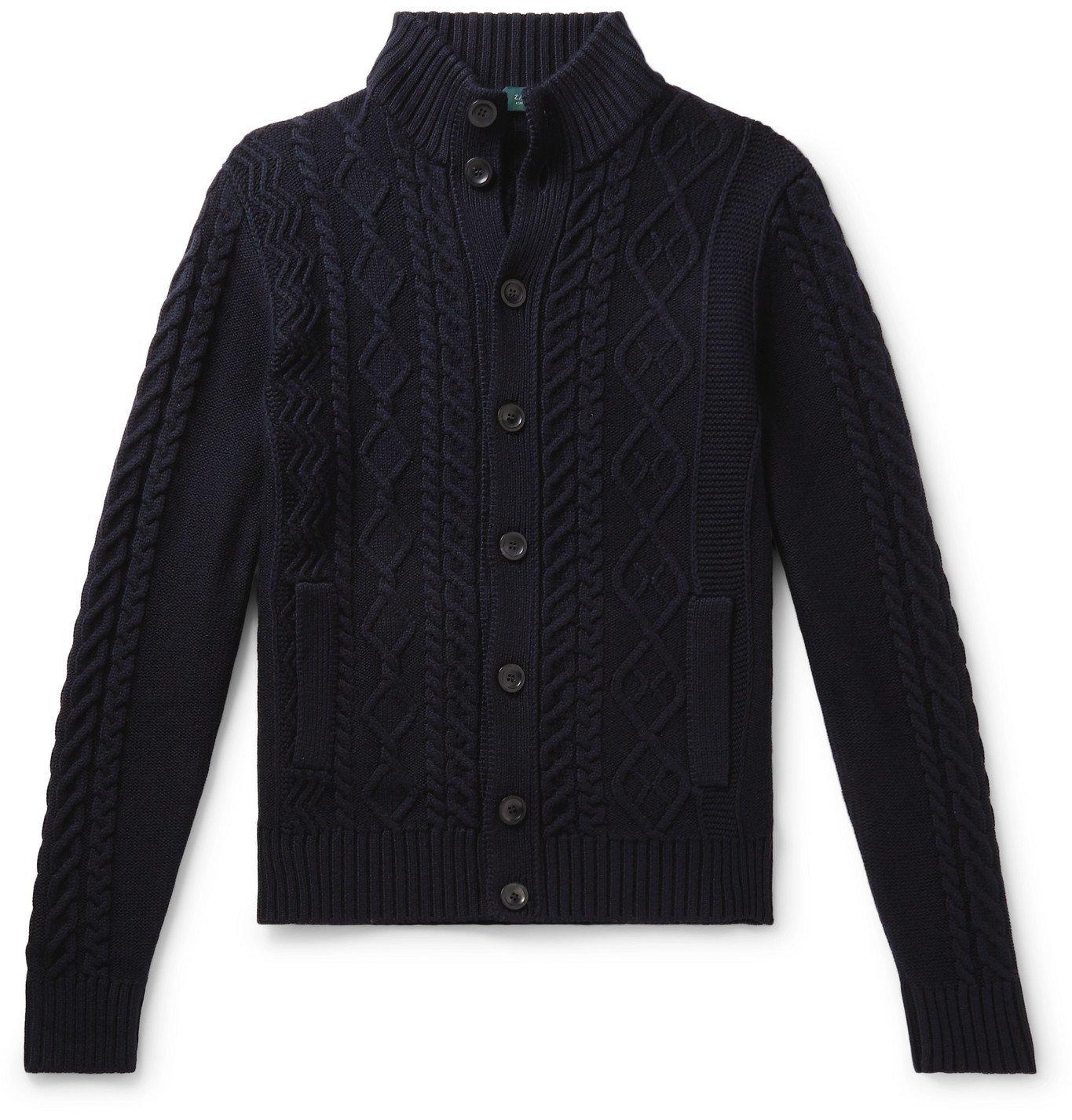Photo: Incotex - Cable-Knit Virgin Wool Cardigan - Blue