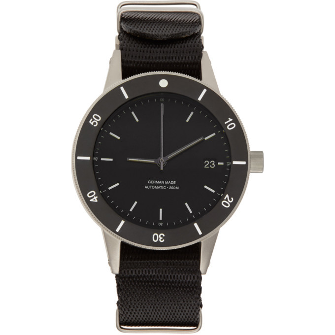 Photo: Instrmnt Silver and Black Webbing Dive Watch