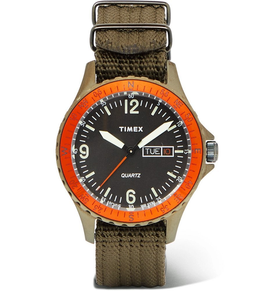 Photo: Timex - Navi Land Stainless Steel and Nylon-Webbing Watch - Green