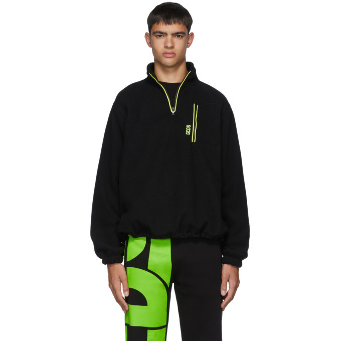 Photo: GCDS Black Pile Half-Zip Sweater