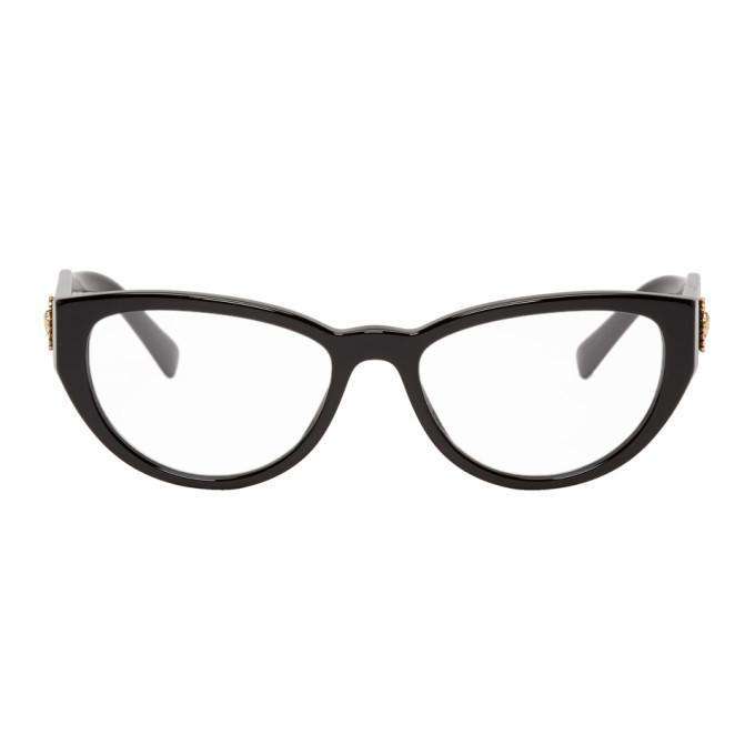 Photo: Versace Black Medusa Crystal Cat-Eye Glasses
