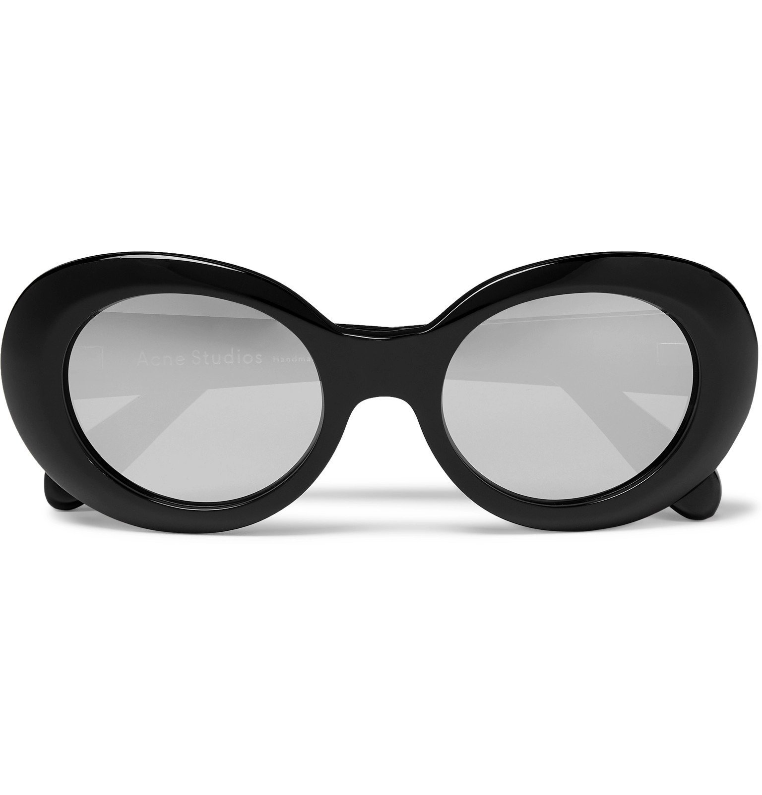 Photo: Acne Studios - Mustang Round-Frame Mirrored Acetate Sunglasses - Black