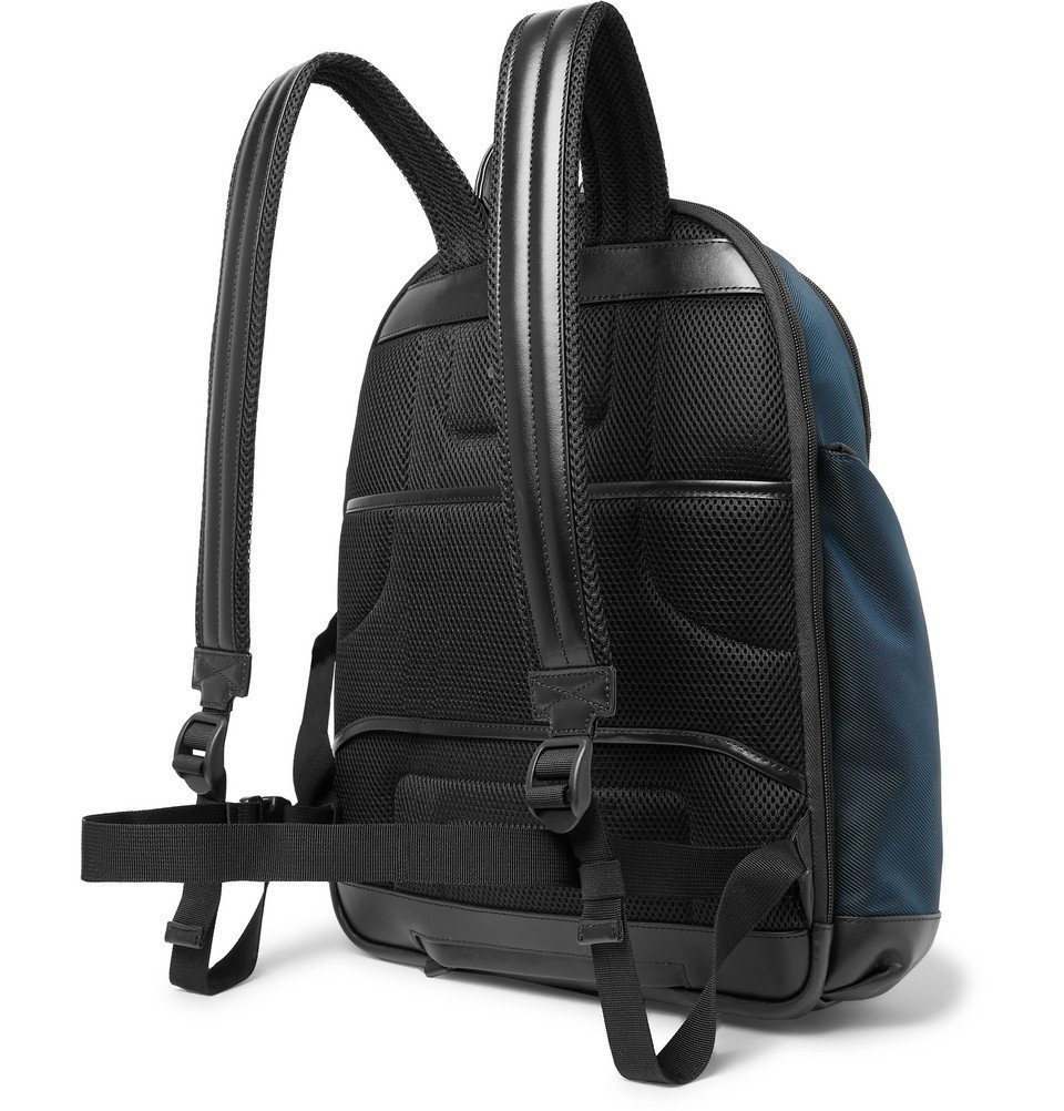 Montblanc - Nightflight Leather-Trimmed Canvas Backpack - Blue