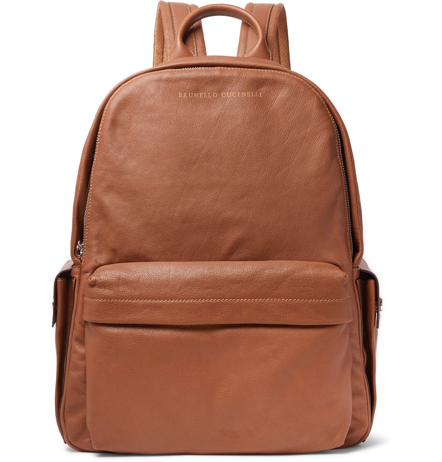 Photo: Brunello Cucinelli - Full-Grain Leather and Suede Backpack - Brown