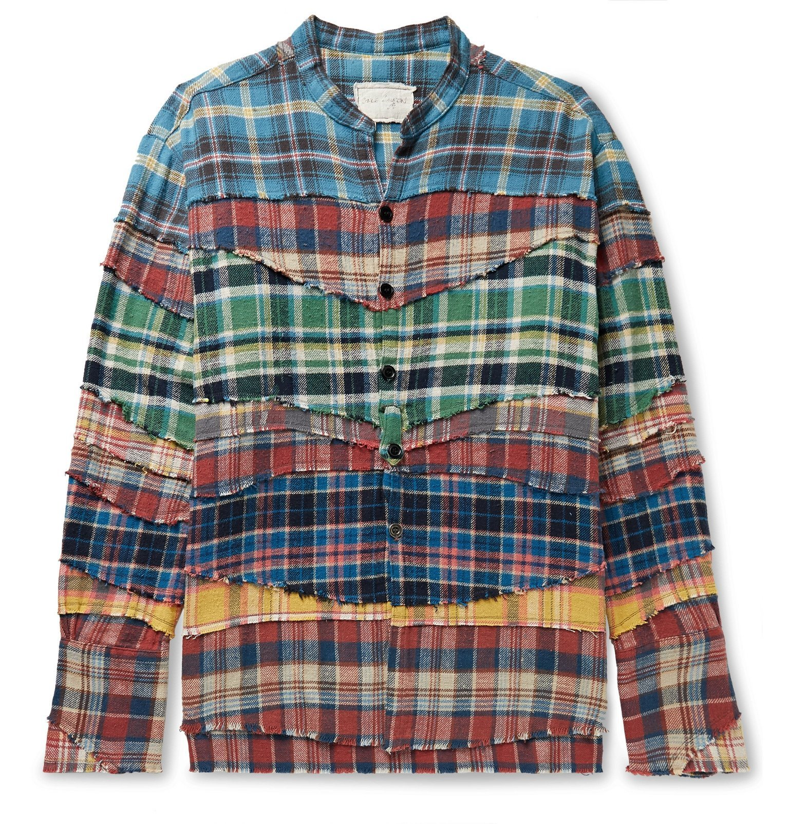 Photo: Greg Lauren - Grandad-Collar Patchwork Checked Cotton-Flannel Shirt - Multi