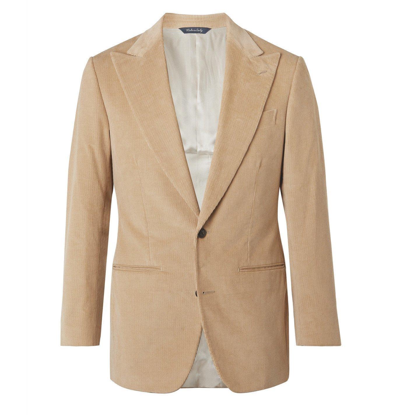 Photo: Saman Amel - Slim-Fit Cotton-Corduroy Suit Jacket - Neutrals