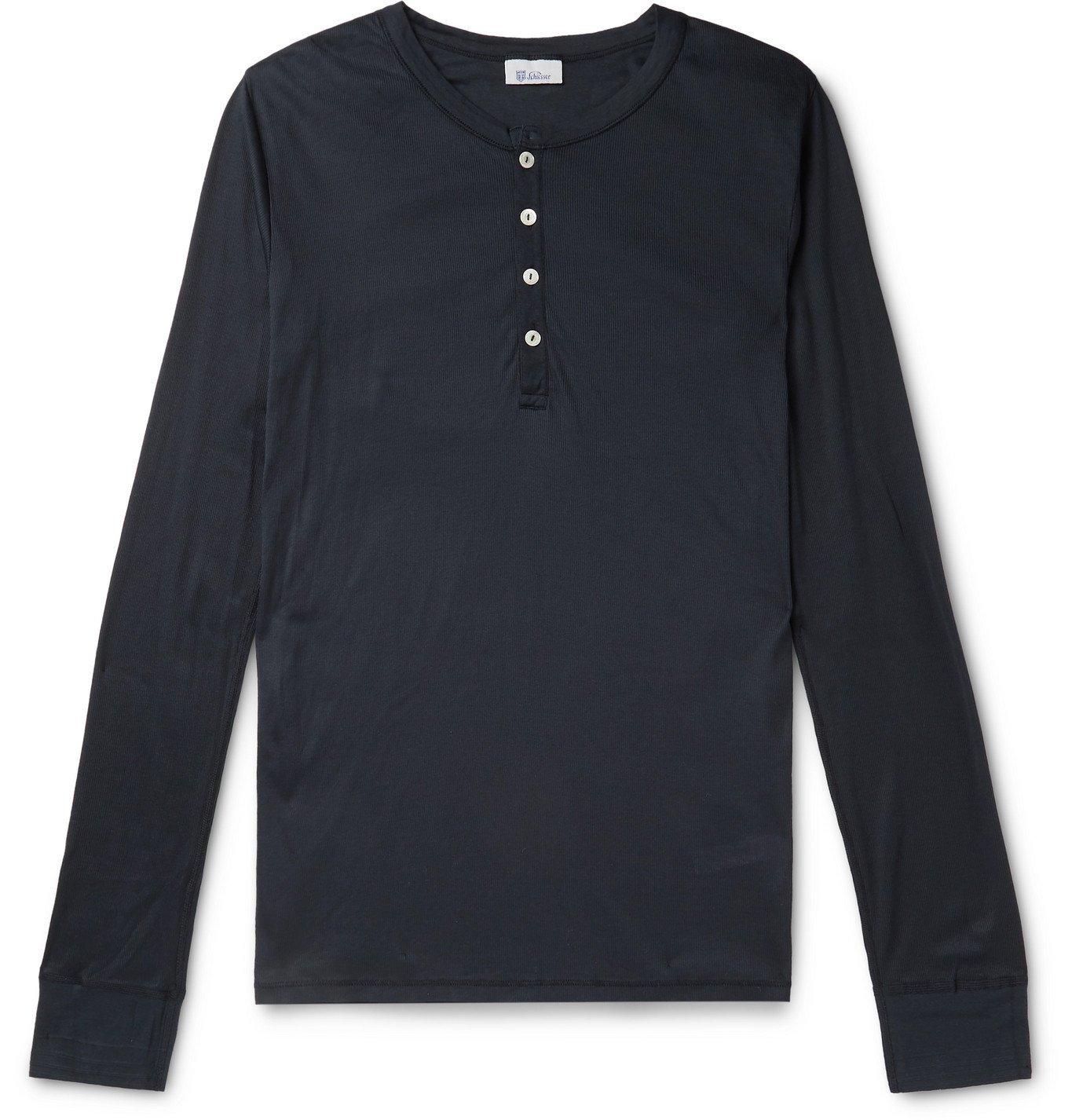 Schiesser - Karl Heinz Slim-Fit Ribbed Cotton-Jersey Henley Pyjama T-Shirt - Blue