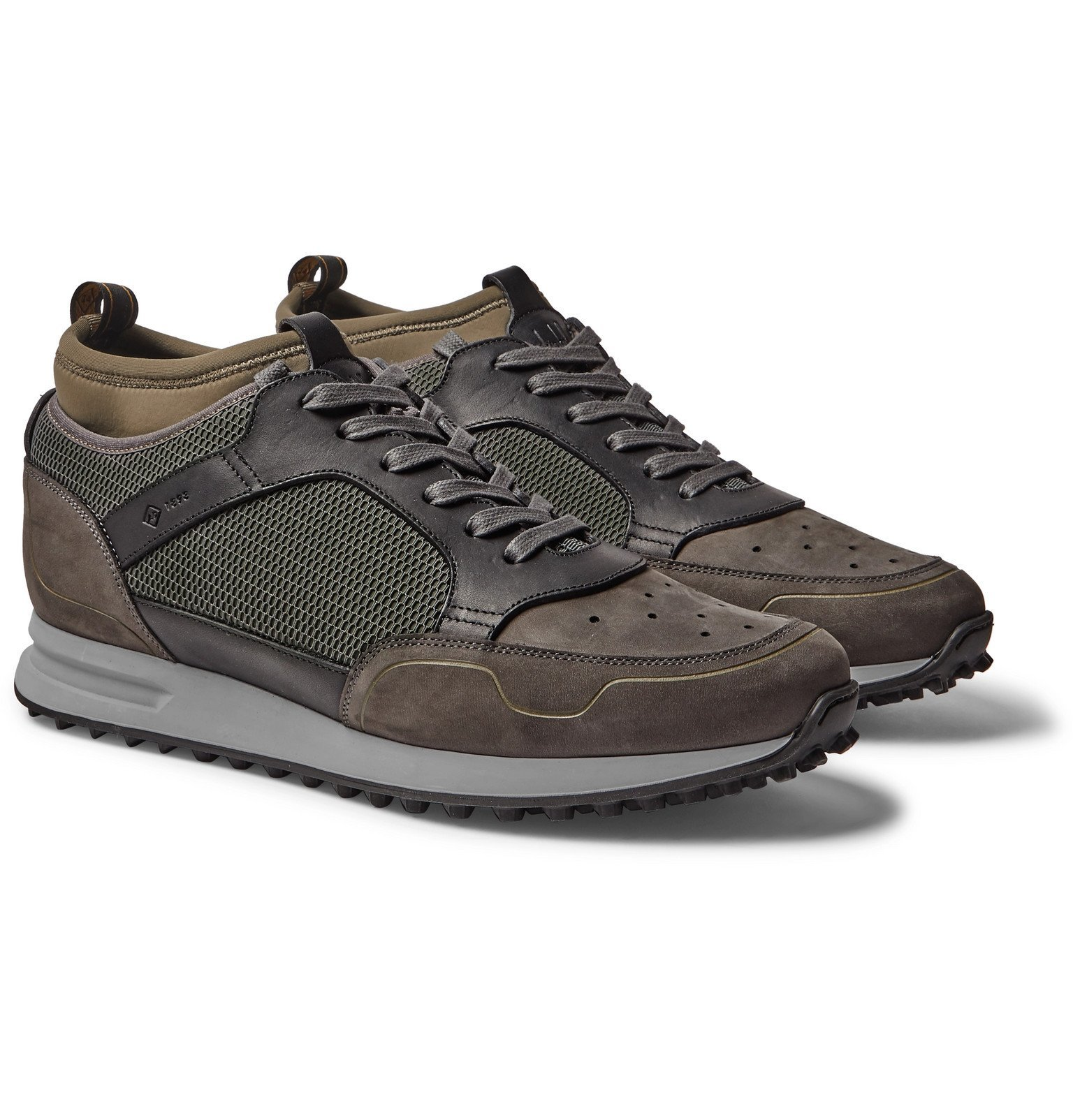 Dunhill - Radial Runner Neoprene and Leather-Trimmed Suede and Mesh Sneakers - Green