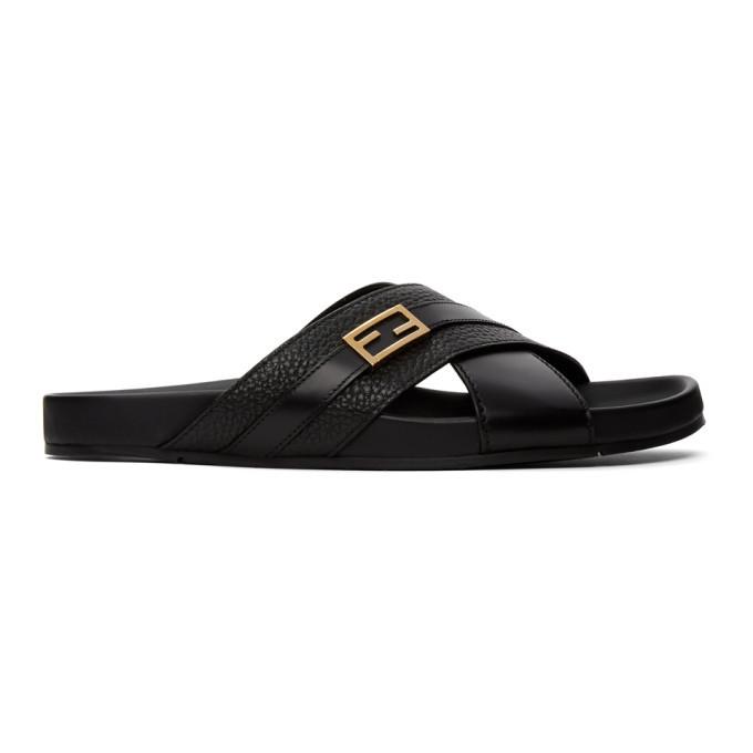 Photo: Fendi Black and Gold Baguette Sandals