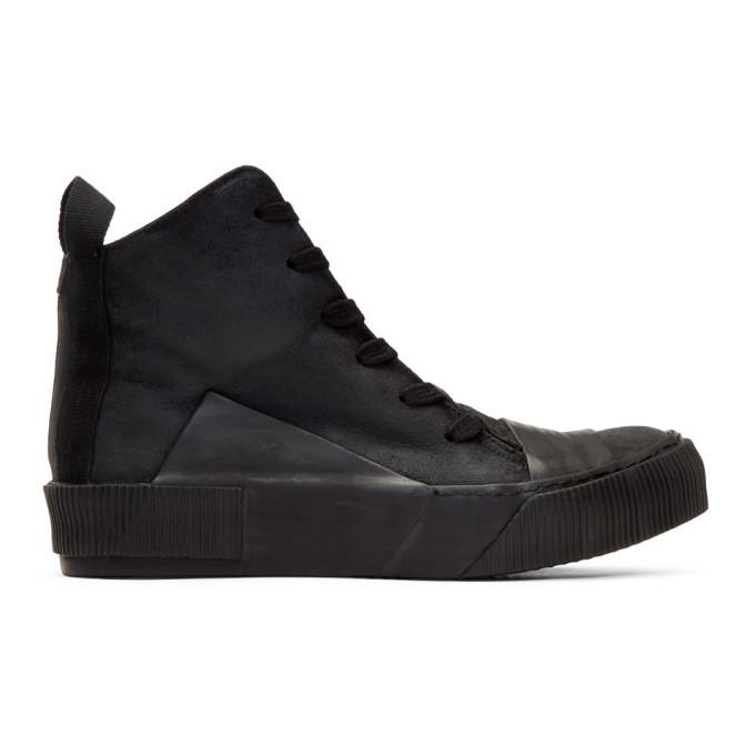 Photo: Boris Bidjan Saberi Black Waxed High-Top Sneakers