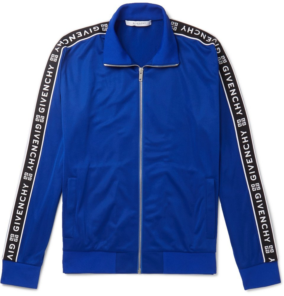 Photo: Givenchy - Logo-Jacquard Fleece-Back Tech-Jersey Track Jacket - Men - Blue