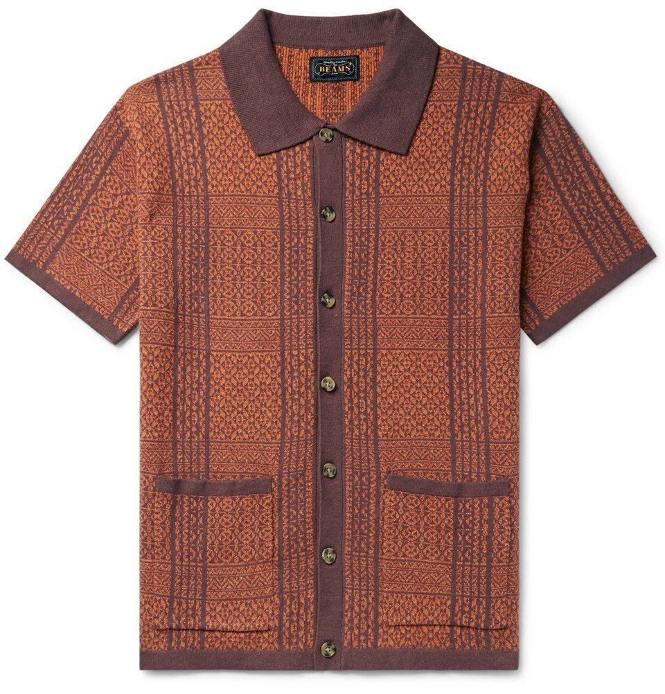 Beams Plus - Cotton and Linen-Blend Jacquard Shirt - Orange