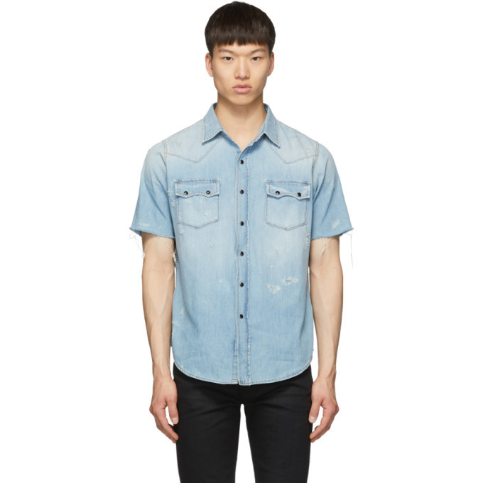 Photo: Saint Laurent Blue Denim Western Short Sleeve Shirt