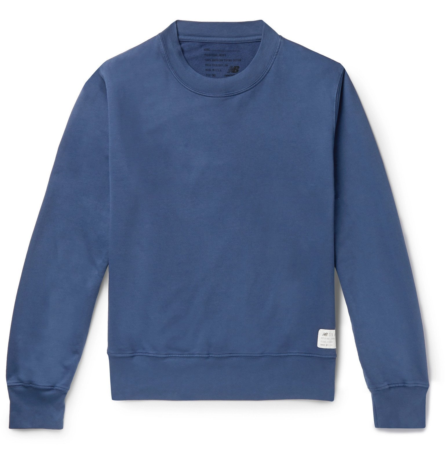 Photo: Save Khaki United - New Balance Fleece-Back Supima Cotton-Jersey Sweatshirt - Blue