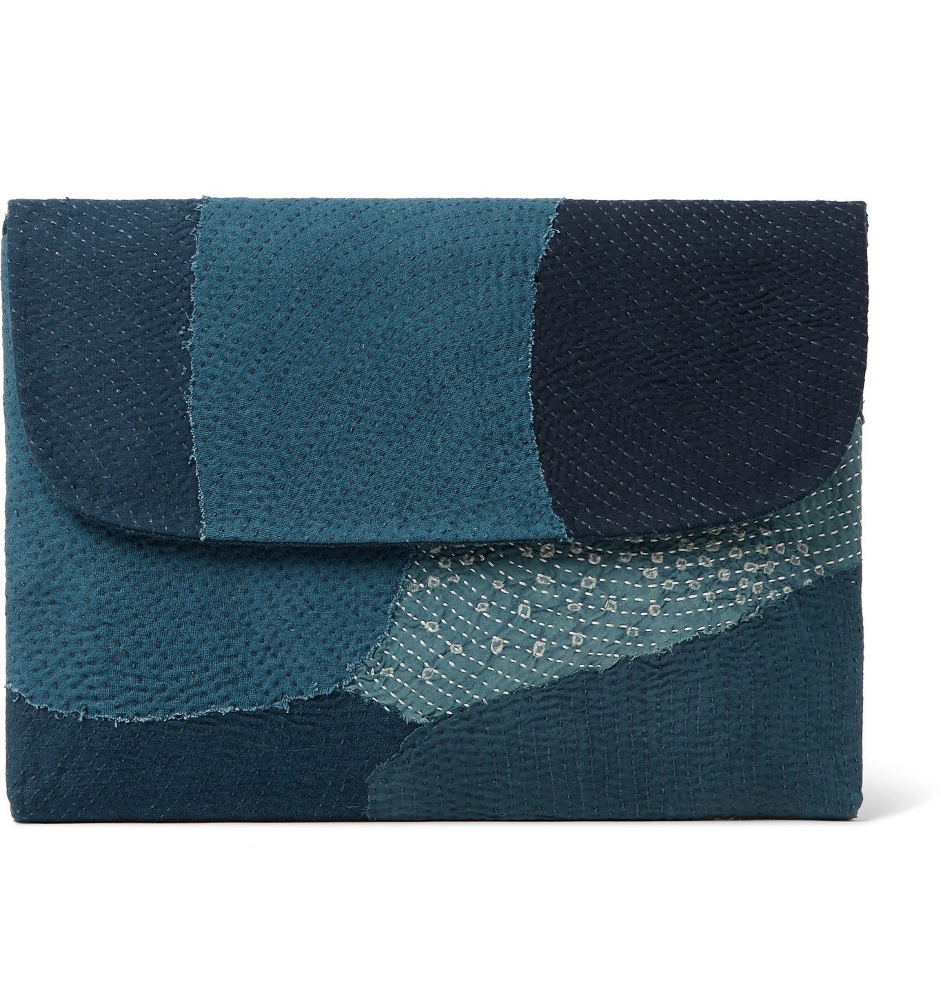 Photo: 11.11/eleven eleven - Patchwork Embroidered Cotton Laptop Case - Blue