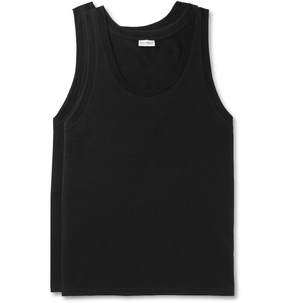 Photo: Dolce & Gabbana - Day By Day Two-Pack Stretch-Cotton Jersey Tank Tops - Black