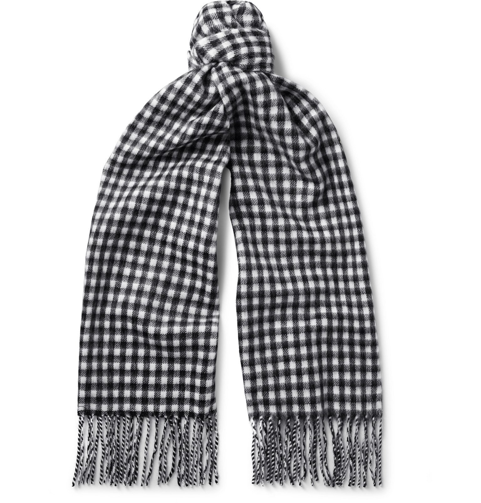 Photo: A.P.C. - Fringed Checked Wool and Angora-Blend Scarf - Black