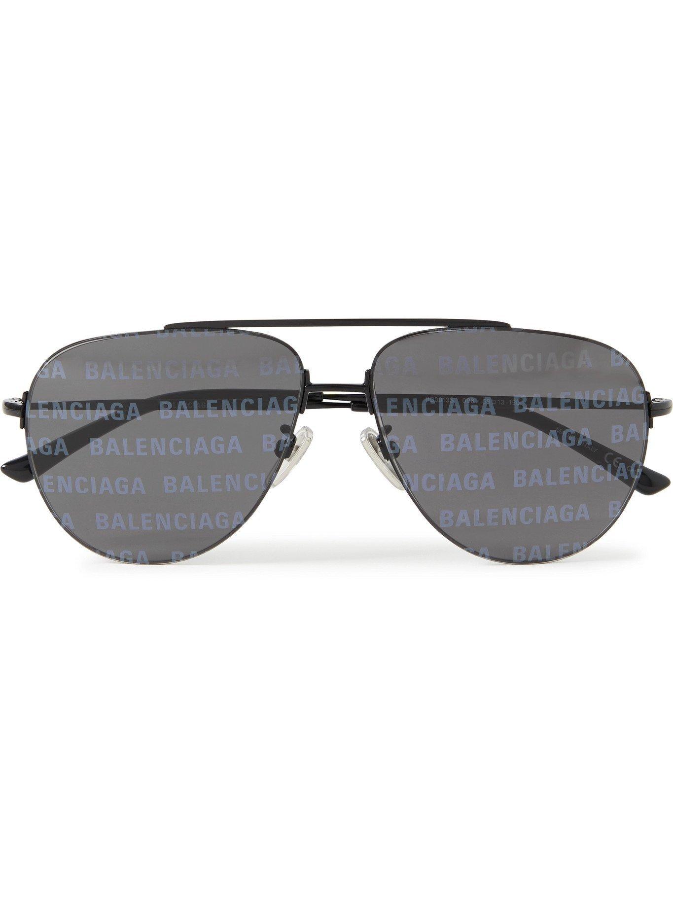 Photo: BALENCIAGA - Aviator-Style Logo-Print Silver-Tone Sunglasses - Black