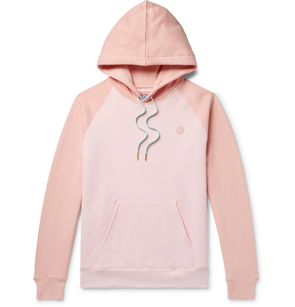 Photo: Acne Studios - Logo-Appliquéd Colour-Block Fleece-Back Cotton-Jersey Hoodie - Pink
