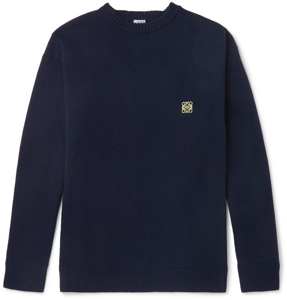 Photo: Loewe - Logo-Embroidered Wool Sweater - Navy