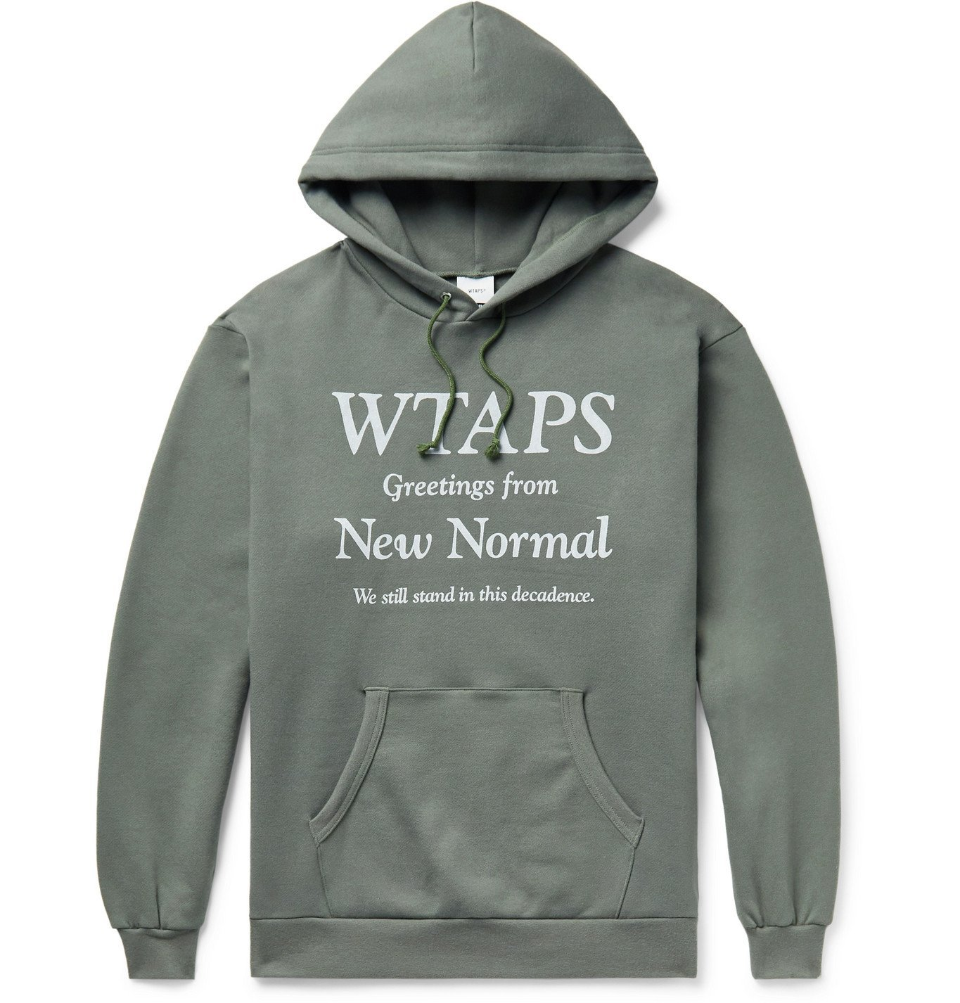 WTAPS - Logo-Print Fleece-Back Cotton-Jersey Hoodie - Green